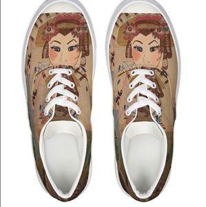 Designer Lace Up Japanese Geisha Canvas Shoes